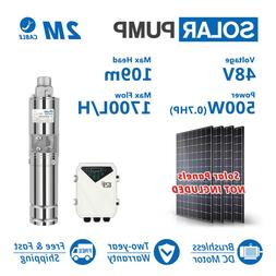 """3"""" DC Screw Solar Water Pump 48V 500W Submersible Well Garde"""