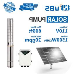 """4"""" DC Deep Bore Well Solar Water Pump 110V 2HP Submersible M"""