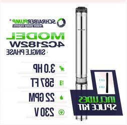 """SCHRAIBERPUMP 4"""" Deep Well Submersible Pump 3HP 230v 587ft 2"""