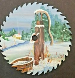 Hand Painted 8 inch Saw Blade Scene of Rustic Well Pump