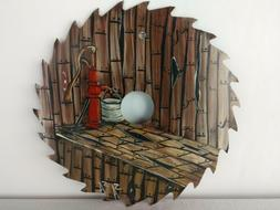 Hand Painted Saw Blade Bamboo Steam Room Water Well Pump Buc
