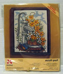 """Leewards """"Pump Picture"""" 8x10 Flowers & Water Well Needlepoin"""