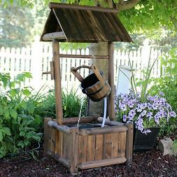 Sunnydaze Rustic Wood Wishing Well Outdoor Fountain with Lin