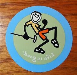Life is Good Sticker/Decal Round Jake Pump Putter Blue/Green