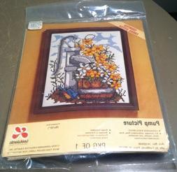 "VTG 1976 LeeWards ""Pump Picture"" Flowers & Water Well Needle"