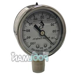 Water Well Pump Liquid Filled Side Mount Pressure Gauge 0 to